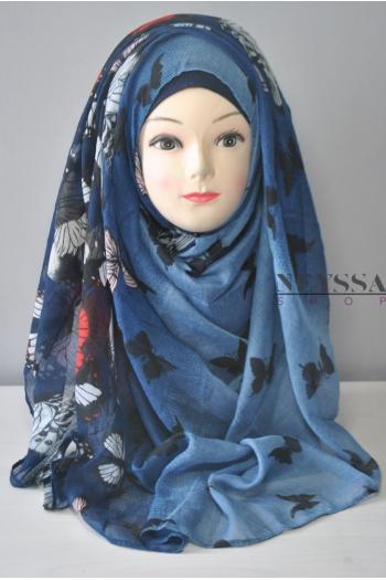 Maxi châle L'envolée bleu nuit