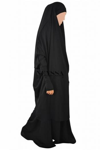 Jilbab Minah wool peach manchettes lycra