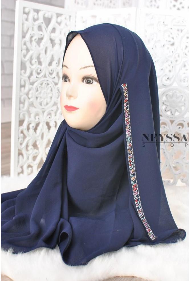 Hijab à enfiler strass