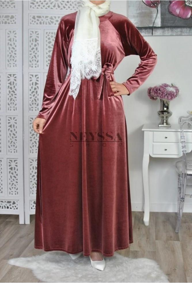 Robe longue musulmane abaya velours