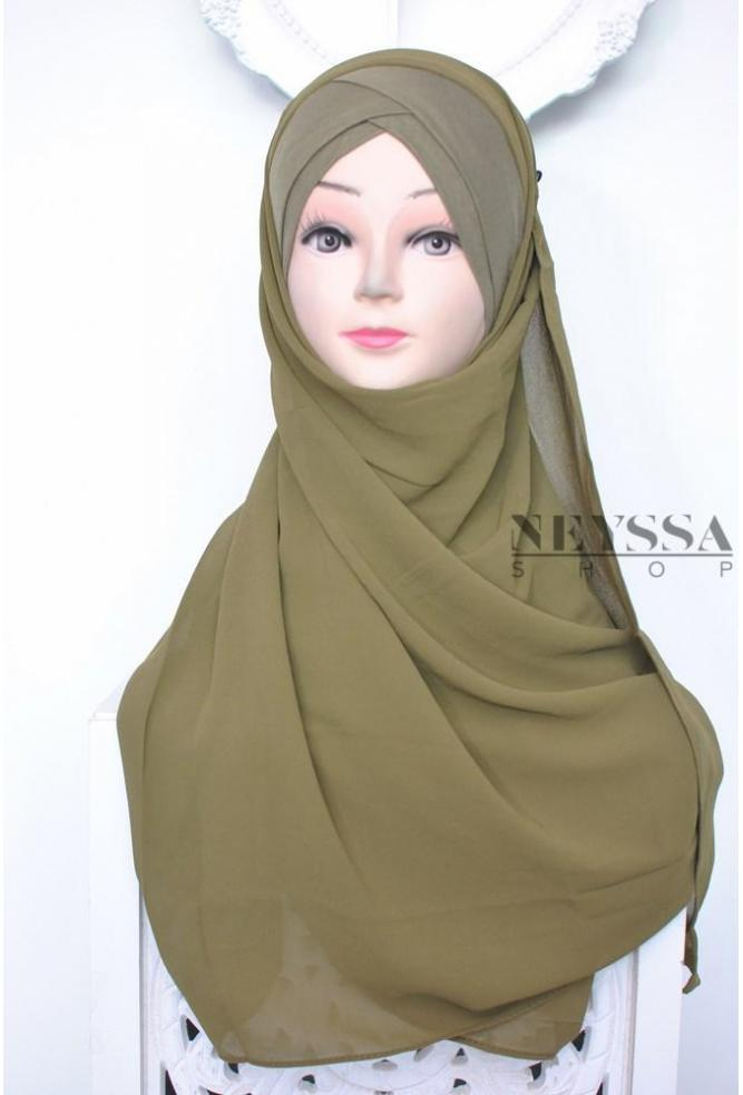Hijab préformé double croisé pas cher