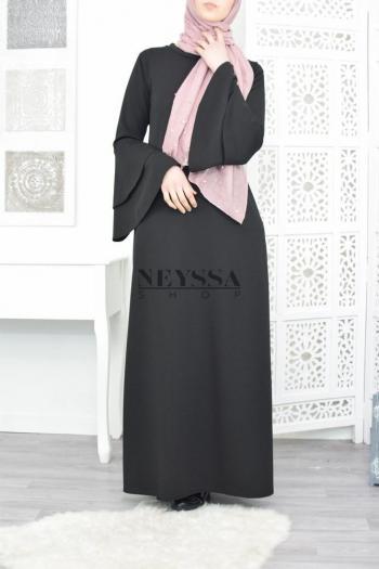 Abaya manches volant Wassila