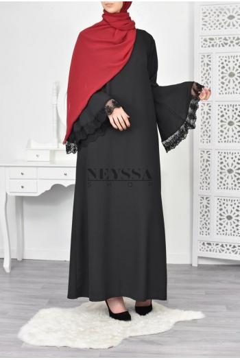 Abaya manches volant Siriane