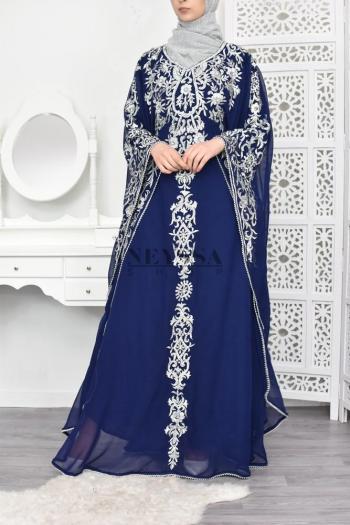 Abaya de soirée Sultana Bleu Nuit/argent