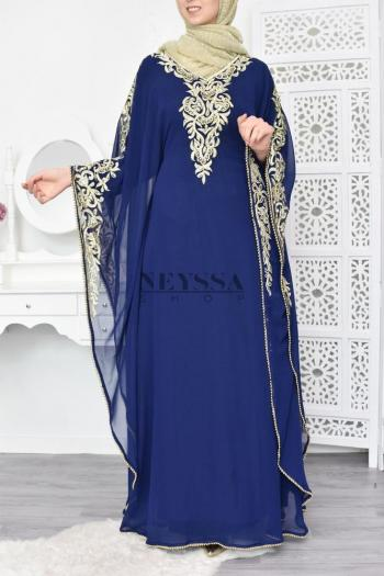 Abaya de soirée Sharifa Bleu Nuit doré