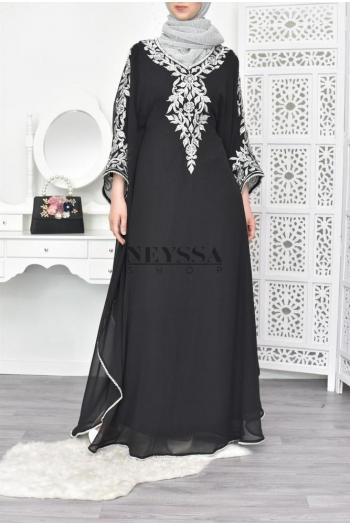 Sultana evening Abaya Black Silver