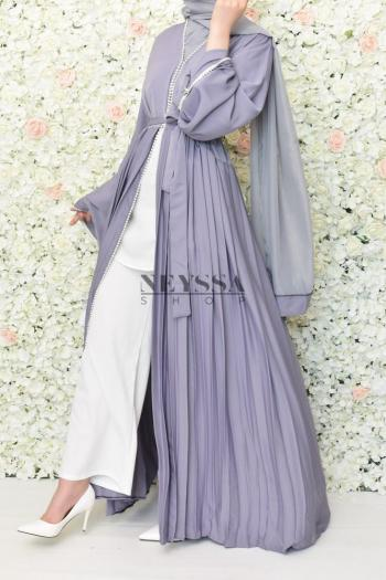 Abaya Dubai Duchesse mauve grisé