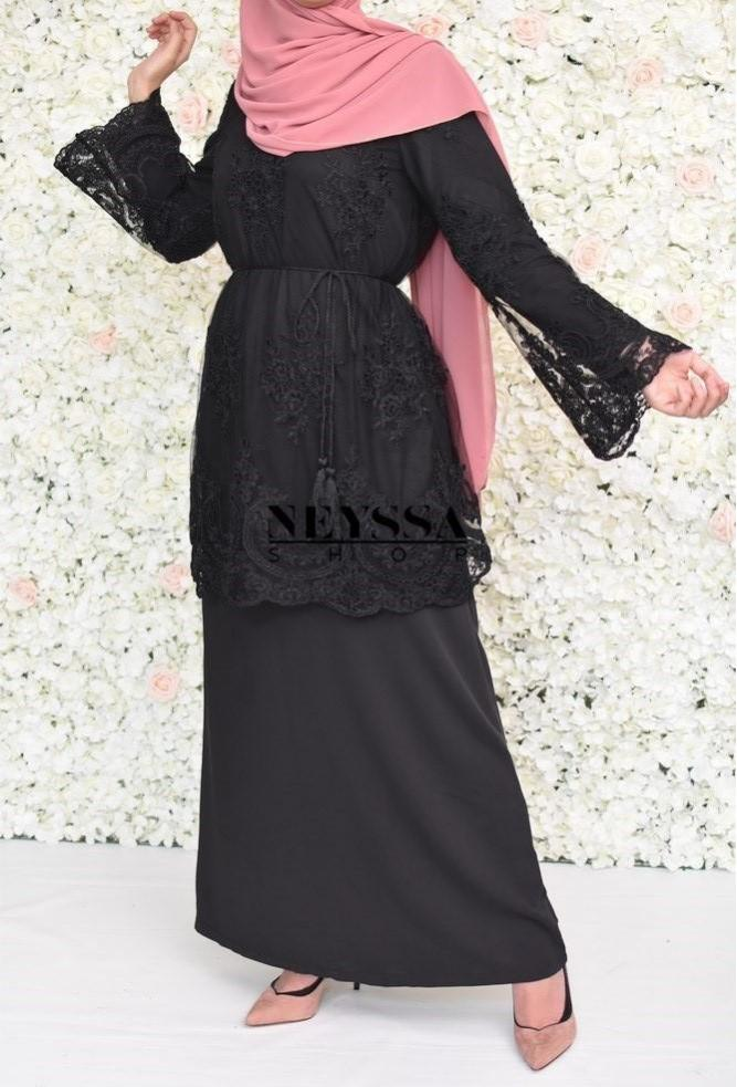 Robe abaya longue noir