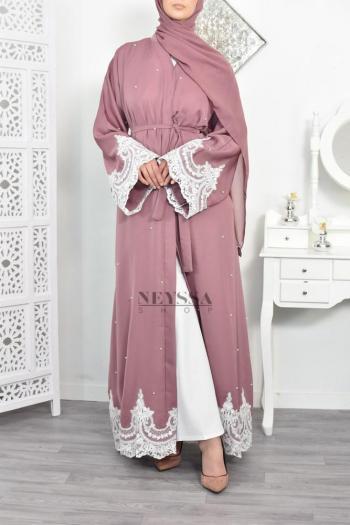 Abaya Dubaï Perlée Jawayriya Mauve