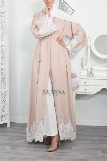 Abaya Dubaï Perlée Jawayriya Rose poudré
