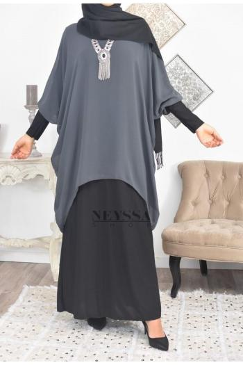 Robe/Tunique Mousseline 2en1 Samiha Lycra