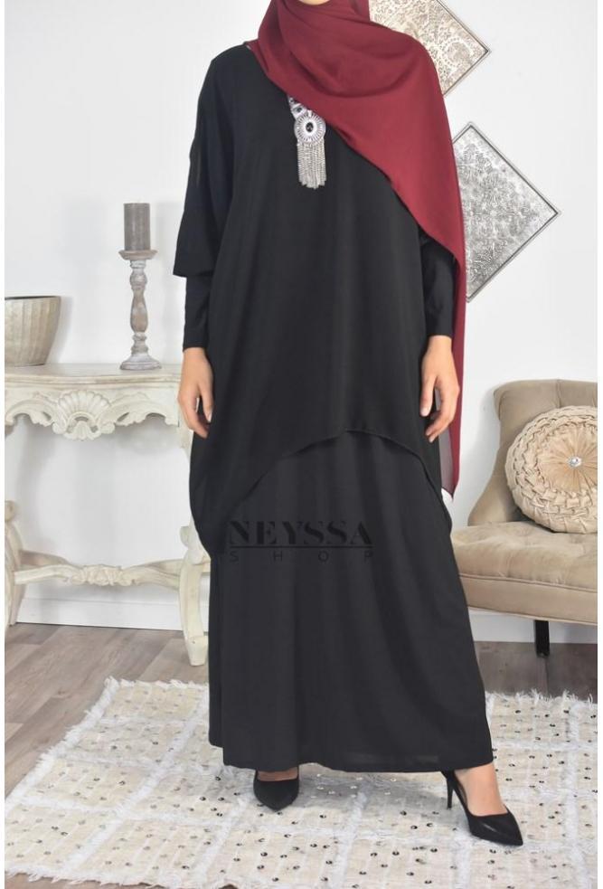 Robe/Tunique Mousseline 2en1 Samiha Lycra