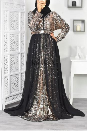 Robe Caftan noir doré