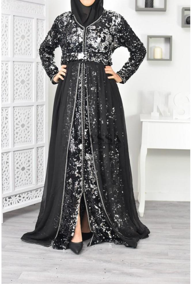 Robe Caftan noir et argent