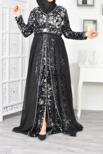 Moroccan Caftan Black and Gold