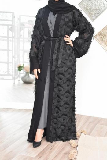 Abaya Dubaï plume Taouss