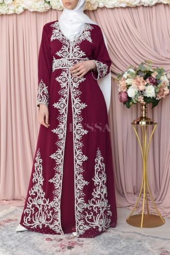 Abaya de soirée Dhelia Prune