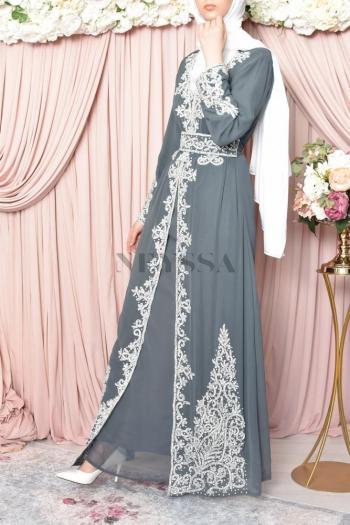 Abaya de soirée Dhelia Gris