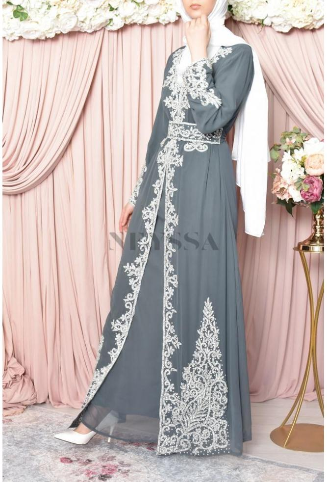 evening abaya Dhelia grey