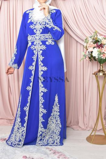 Abaya de soirée Dhelia bleu roi
