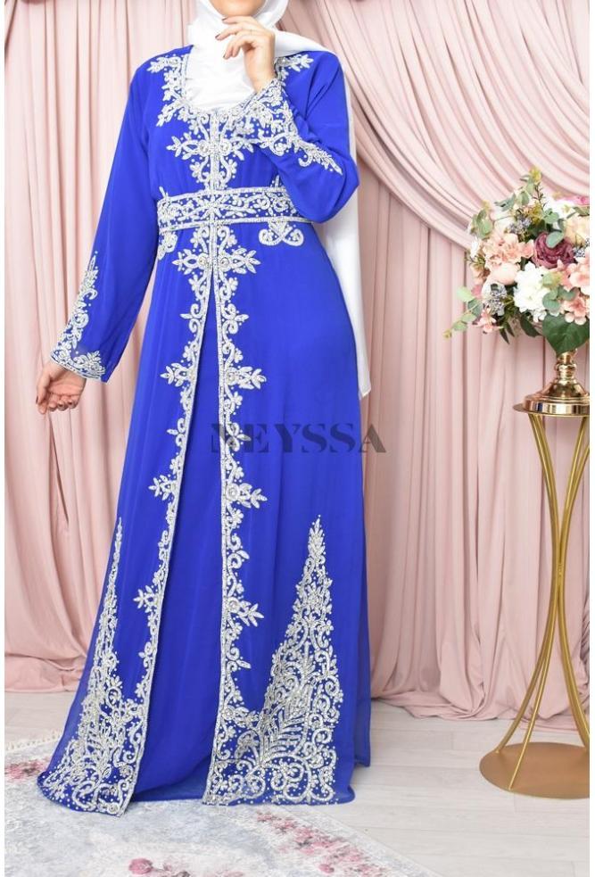 252fc49c846 robe caftan abaya soiree perles nacrées strass fête pour l Aïd el fitr