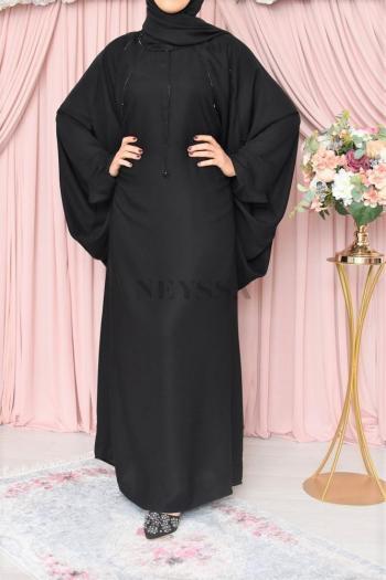 Abaya Dubaï Noir Farasha Sanjanâa