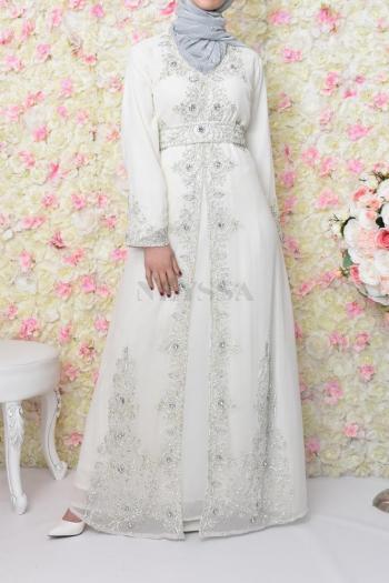 Abaya de soirée Dhelia blanc
