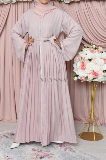 Abaya Dubai Duchesse Rose poudré
