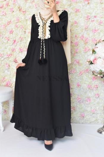 Robe Ethnique Basma Noire boutique hijab