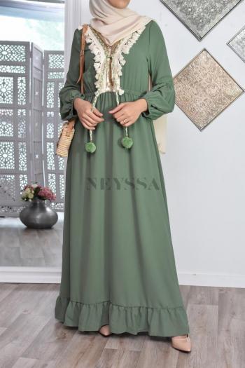 Robe Ethnique Basma Kaki