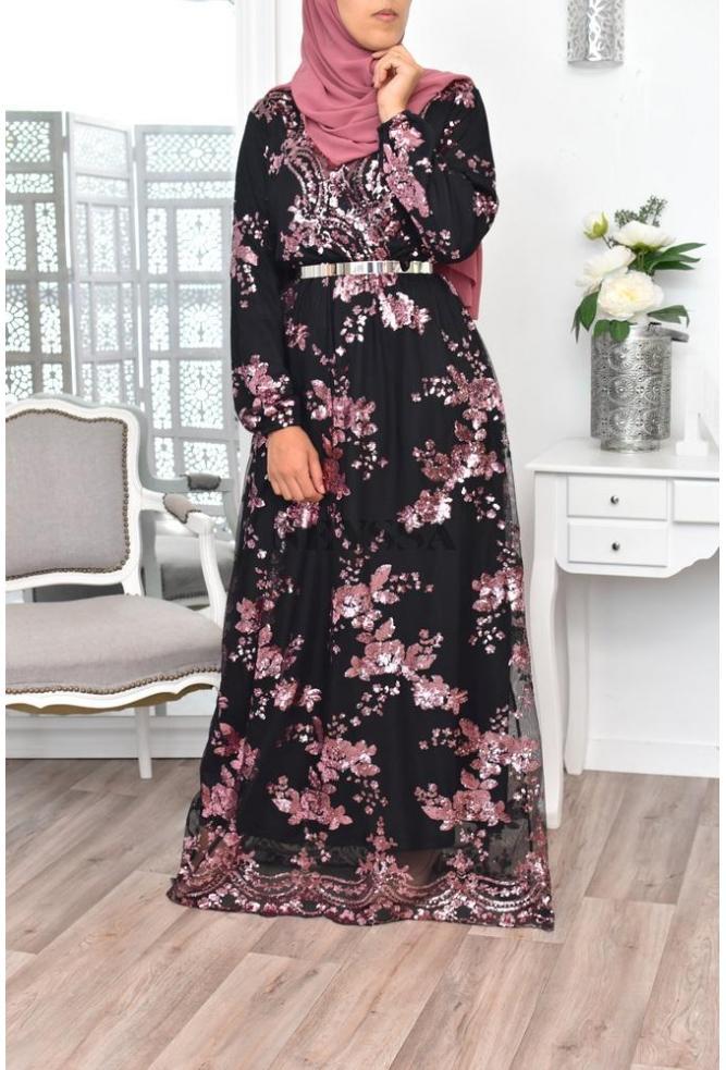 Création Robe Tesslim Noir/rose