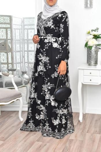 "Evening Maxi Dress ""Tesslim"" Black/argent"