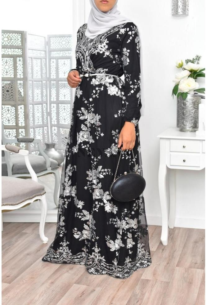 "Evening Maxi Dress ""Tesslim"" Black/argent"
