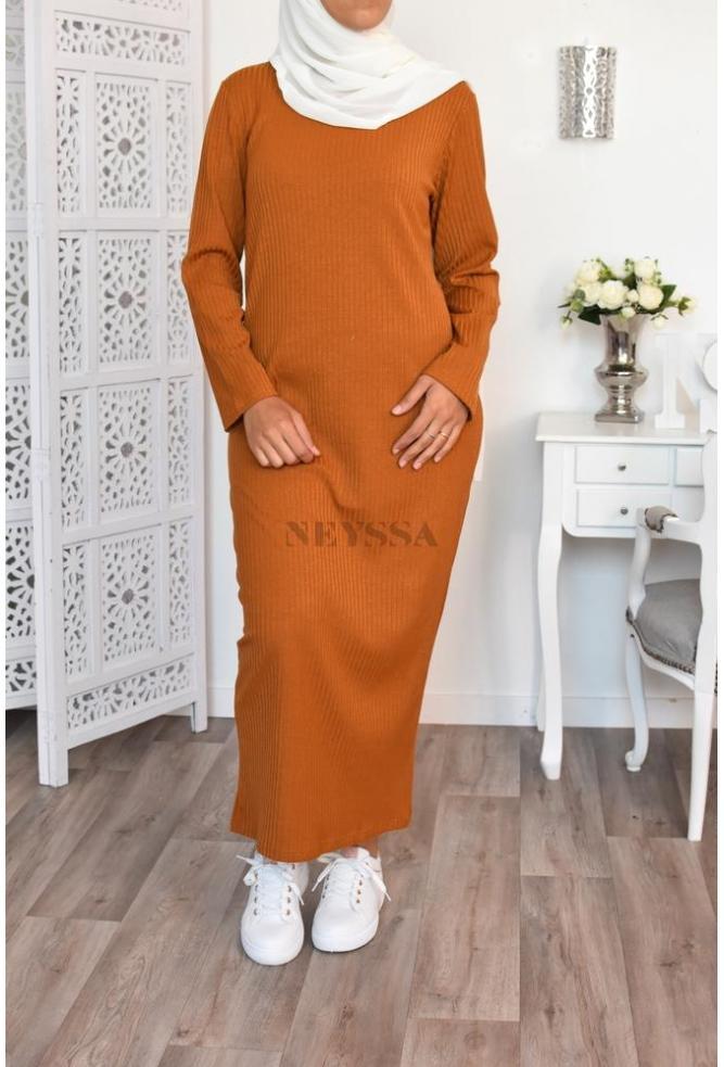 Robe Maille Cotelee Pull Hiver Chaude Longue Femme Mastoura Musulmane