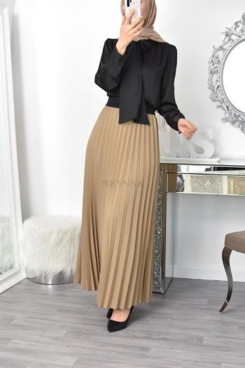 long satin pleated skirt