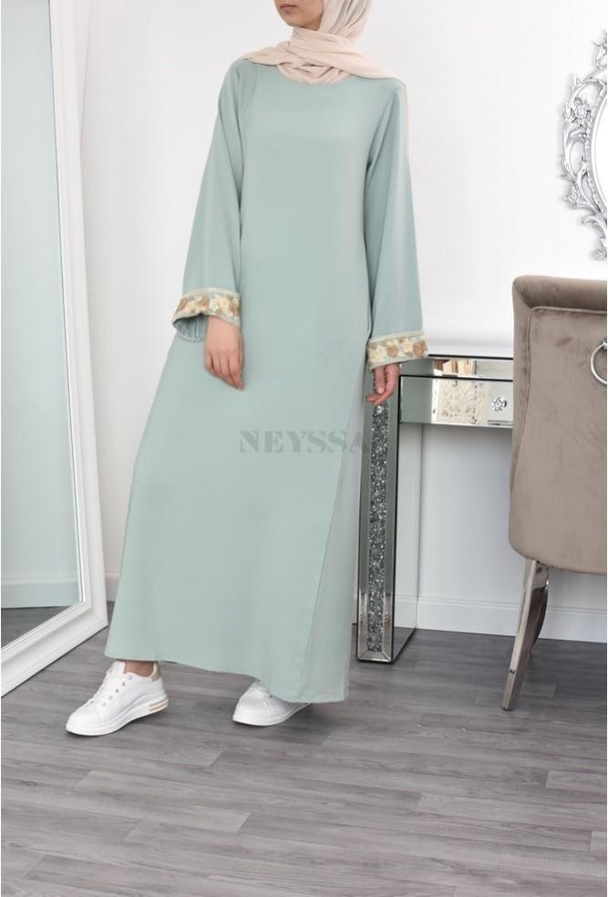 long Abaya flared with lace