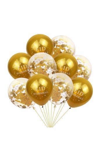 10 Ballons Eid Mubarak jaune