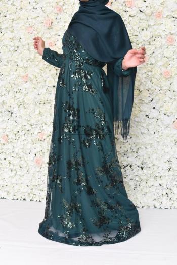 robe soirée musulmane verte