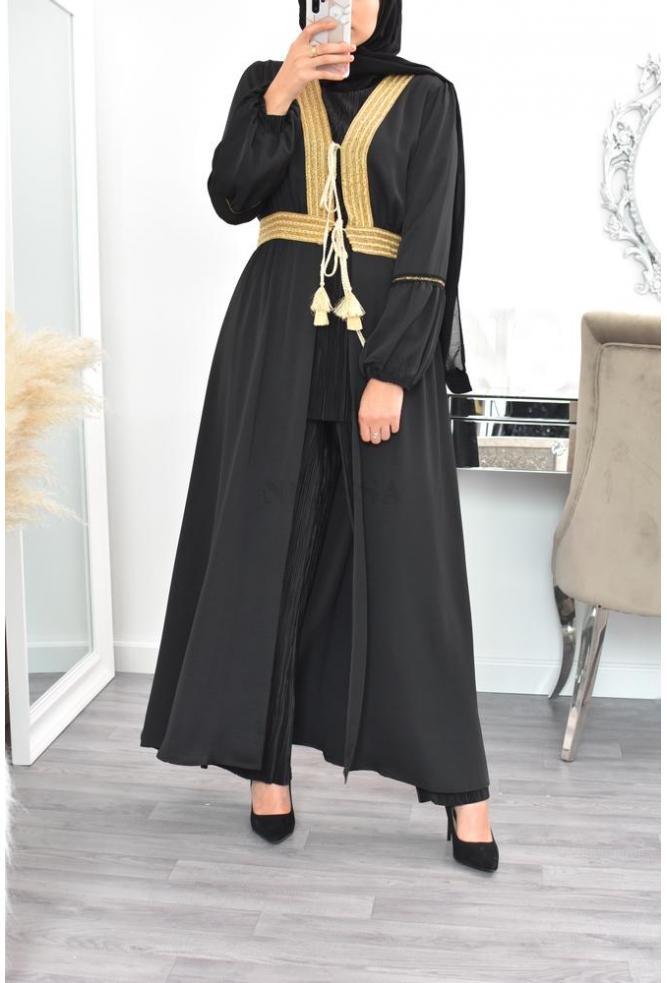Abaya Kimono liseret doré pour l'Aïd