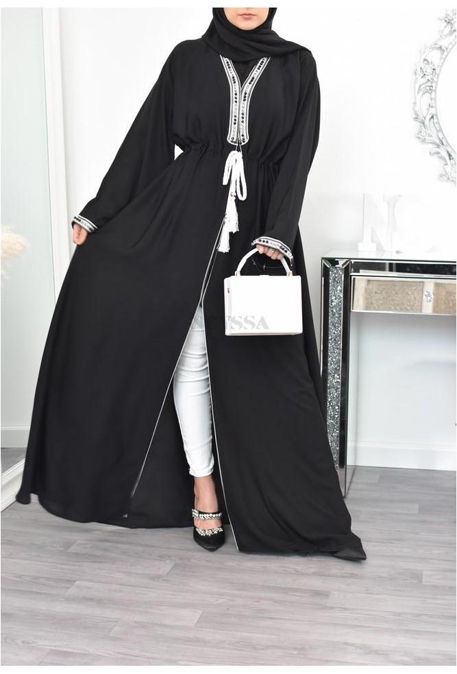 Abaya Dubaï noir broderie marocaine