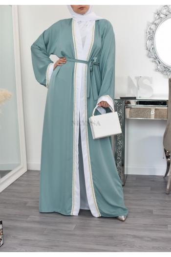 Abaya Dubaï kimono abaya Vert 2en1