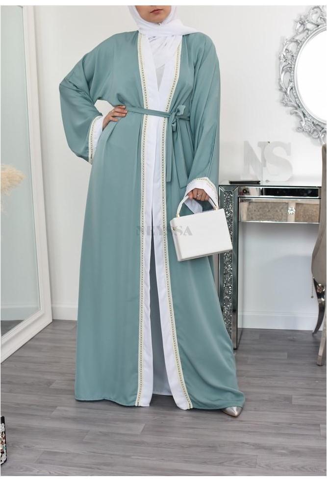 Abaya Dubaï Uweidah light green