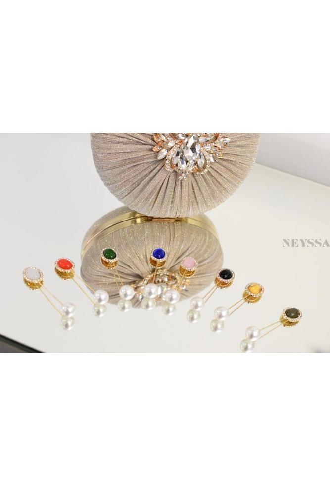 12 pearl hijab jewelry clip