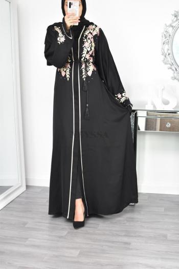 Abaya Dubaï brodée fleur sur buste