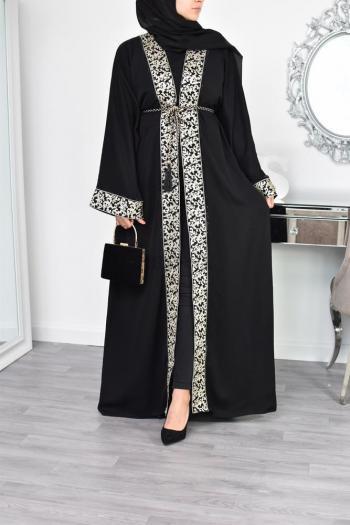 Abaya Dubai 2en1 brodée Khadijâ