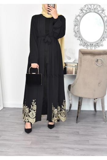 Abaya Kimono long dentelle dorée