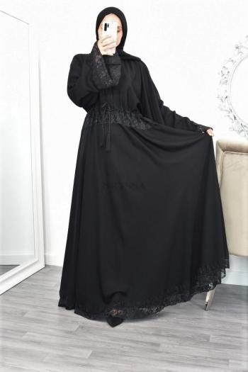 Abaya Dubai dentelle noire aïd