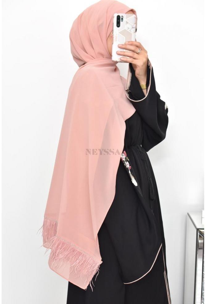 Maxi Hijab en mousseline de fête plumes