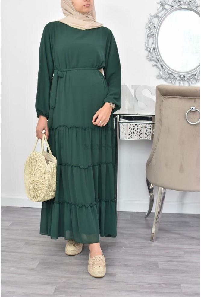Superbe Mousseline Longue Robe Boheme Musulmane Aid Ramadan Hijab
