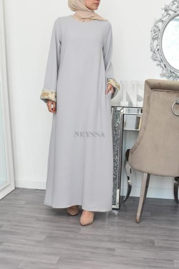 long Abaya flared with lace